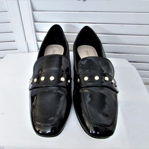 Nine West black faux leather flats 7 M